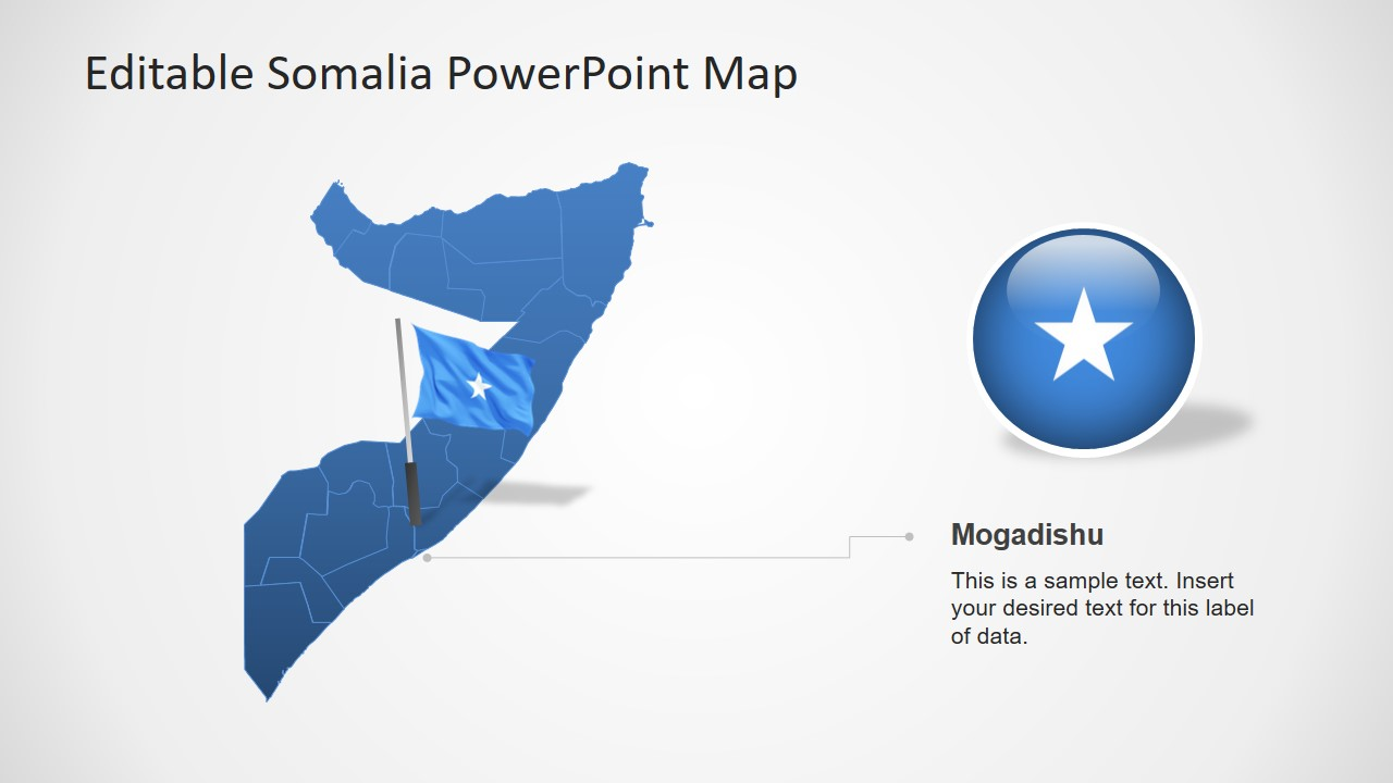 Blue Silhouette Map of Somalia