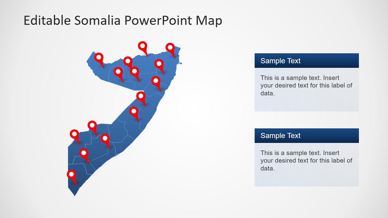 Slide of Location Pins Somalia Map