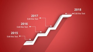 PPT Timeline Template 3D 4 Steps Design with Red Background
