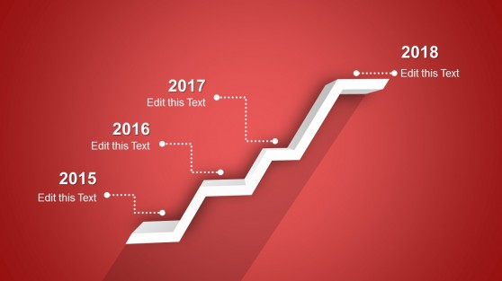 3D 4 Steps Timeline with Red Gradient Design