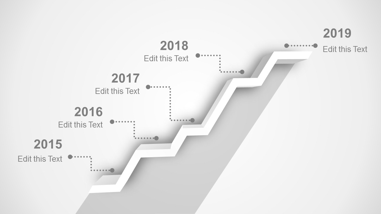 5 stages shelf timeline template for powerpoint