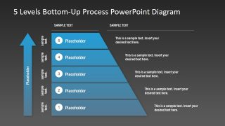 5 Levels Bottom-Up Process PowerPoint Diagram