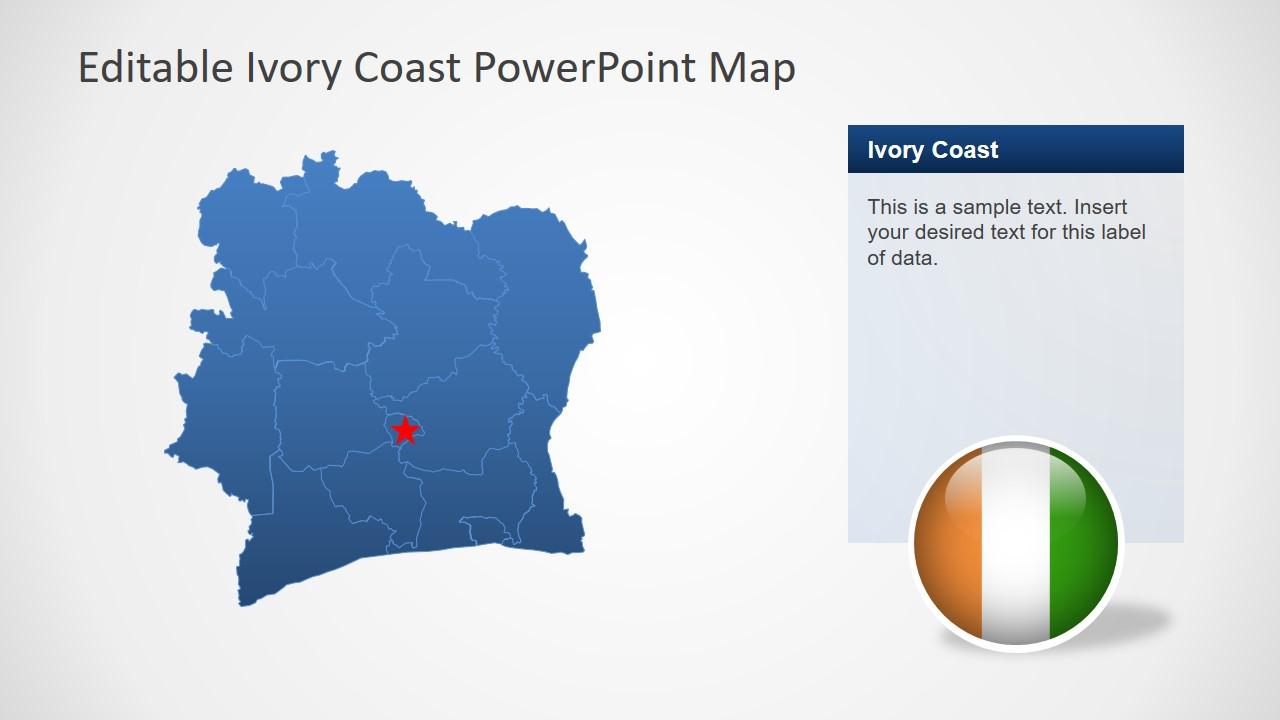 Editable Slide of Ivory Coast Map