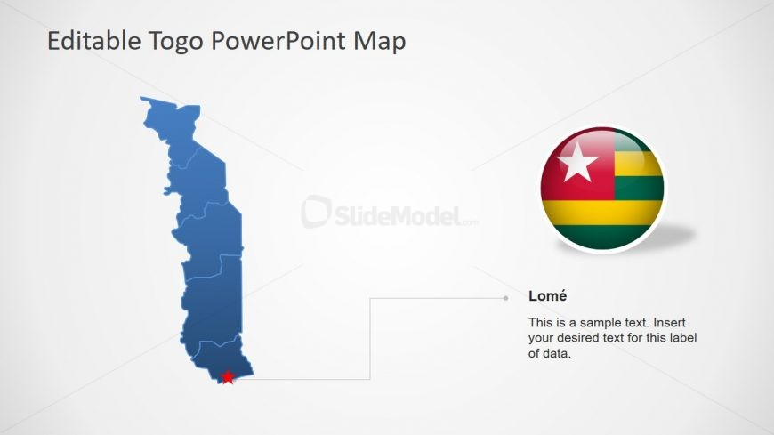 Flat PowerPoint Map of Togo
