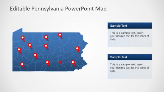 Flat PowerPoint Map of Pennsylvania