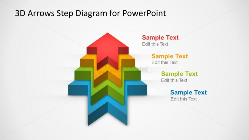 Four 3D arrows template forming a stage diagram in PowerPoint with editable shapes