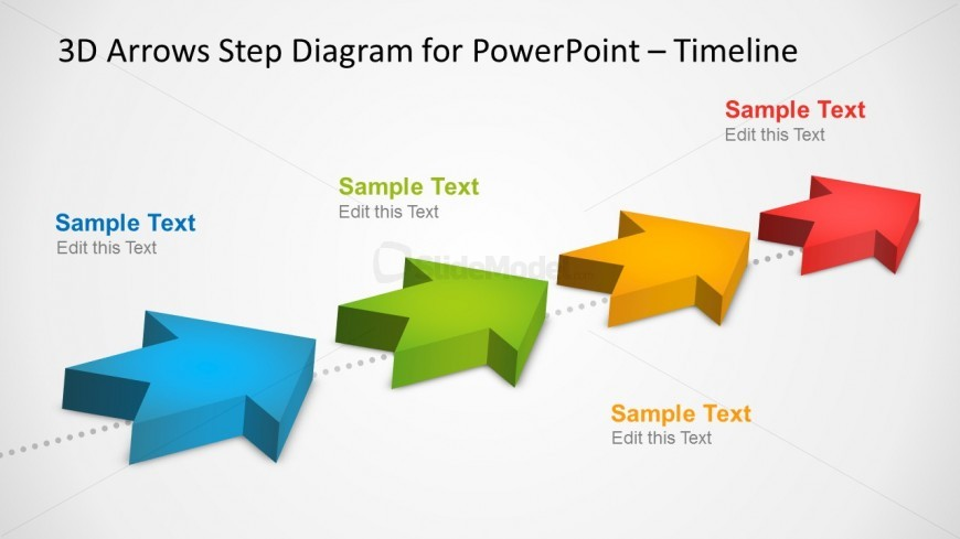 Milestones Timeline Template With D Arrows In PowerPoint - Roadmap timeline template ppt