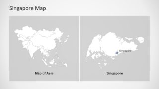 Editable Map of Asia and Singapore