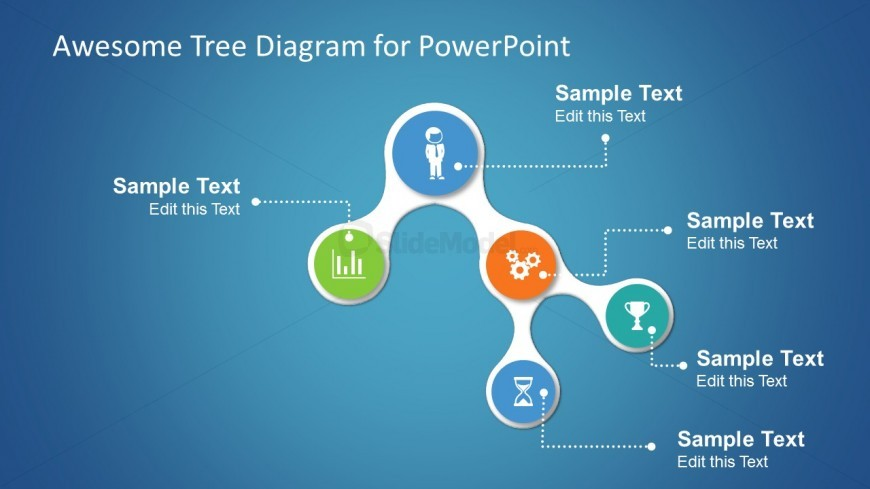 Awesome tree diagram for PowerPoint presentations with small icons on each node.