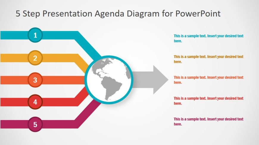 Agenda PowerPoint 5 Steps Template