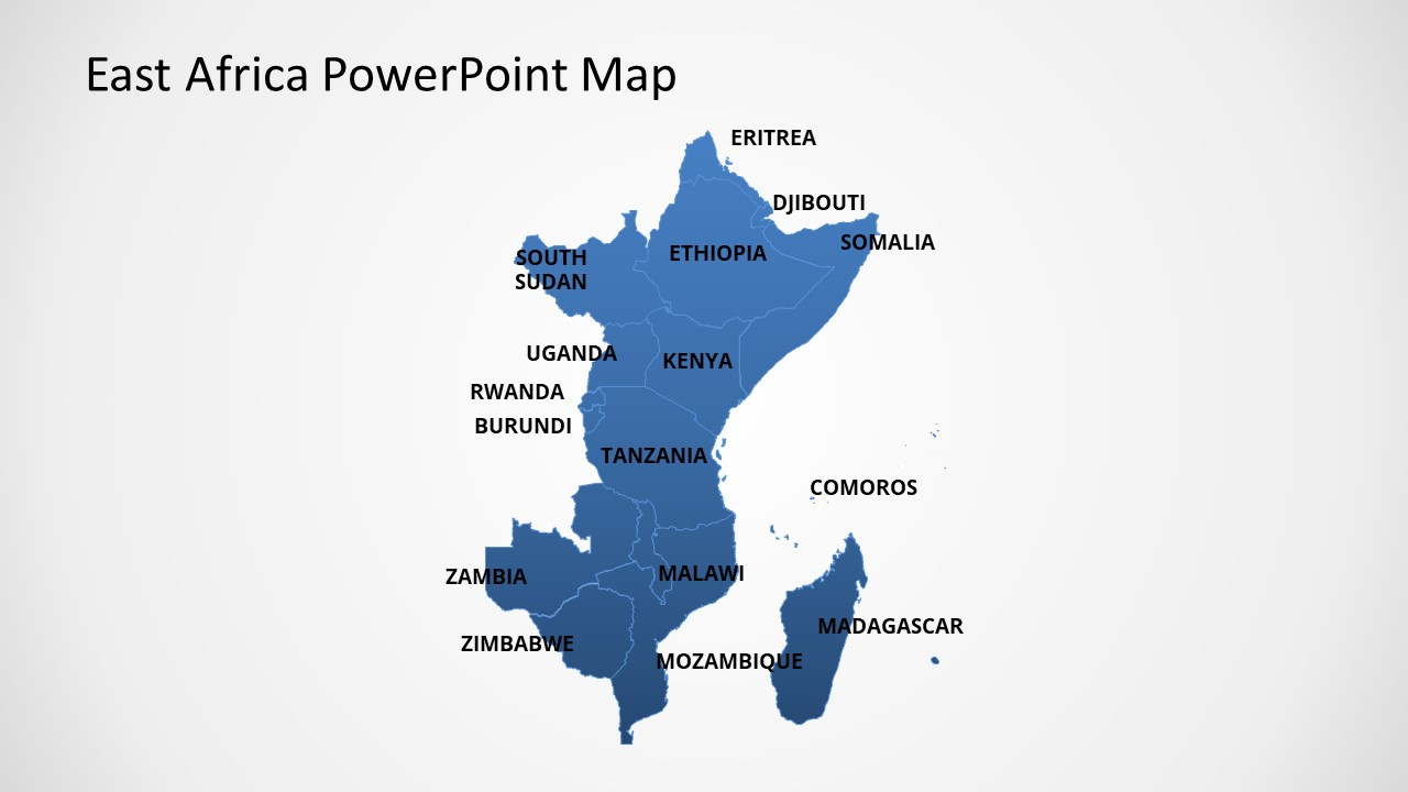 Editable Map of East Africa in PowerPoint