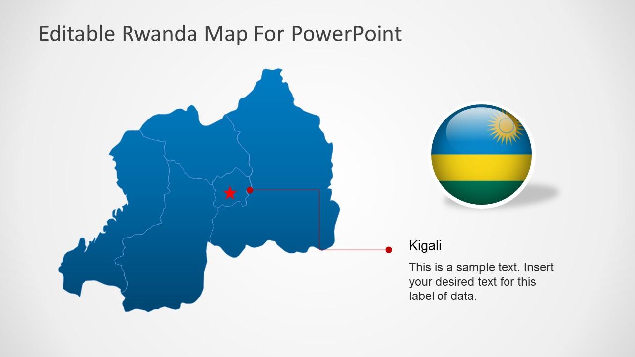 PowerPoint Country Map for Rwanda