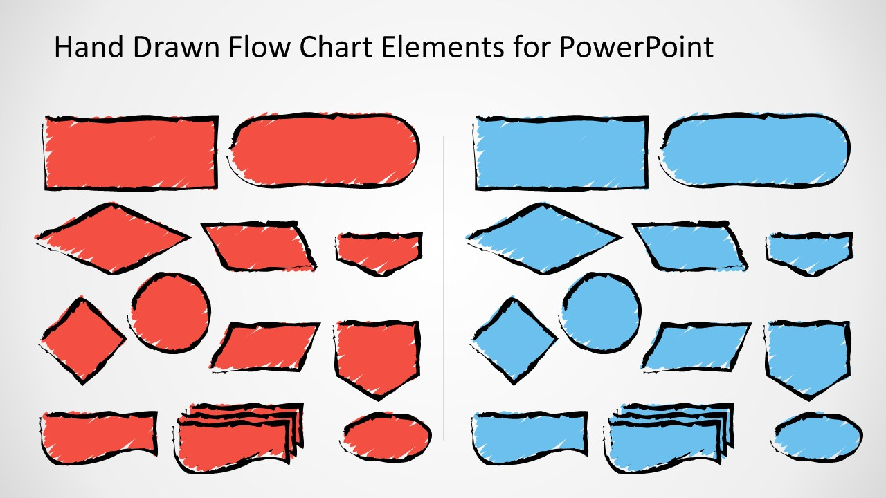 Hand Drawn Flow Chart Template For Powerpoint Slidemodel Process Diagram Ppt Sketched Symbols