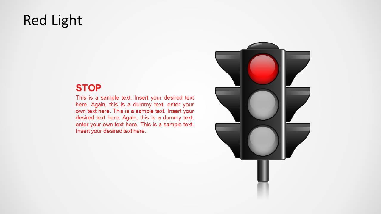 Traffic Light Illustration with Red Light On