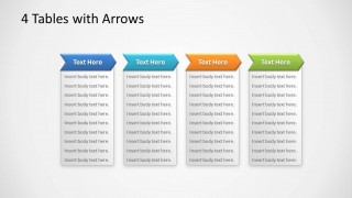 Editable 4 Tables in PowerPoint with Chevron Arrows Process