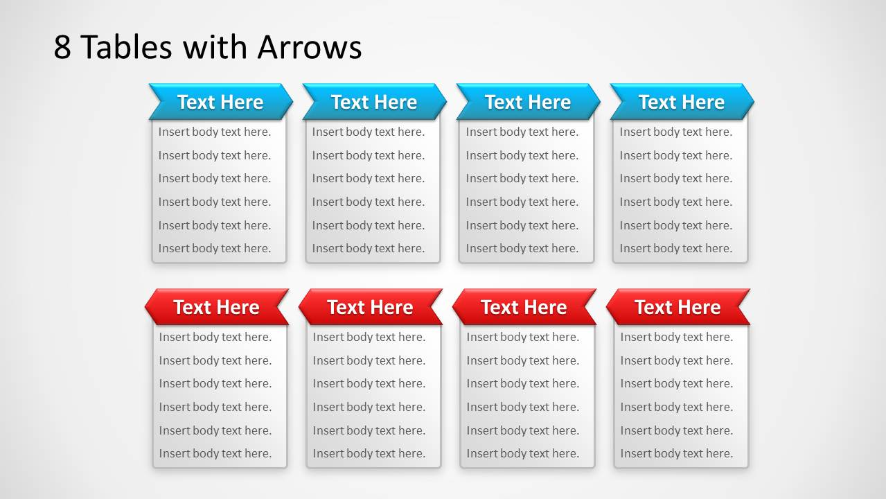 8 Small Tables in PowerPoint with Arrows