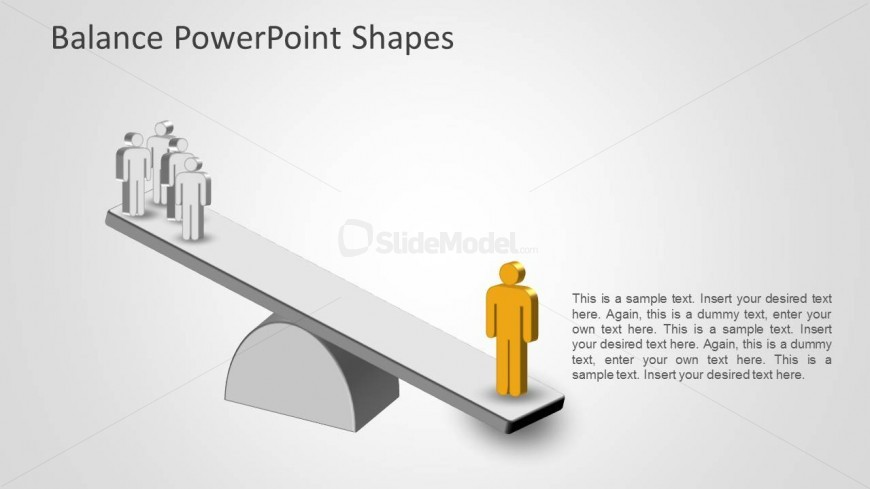 Yellow person shape weights more than gray people together