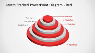 Red Layered Stacked Diagram for PowerPoint Multi-Level with 7 Levels