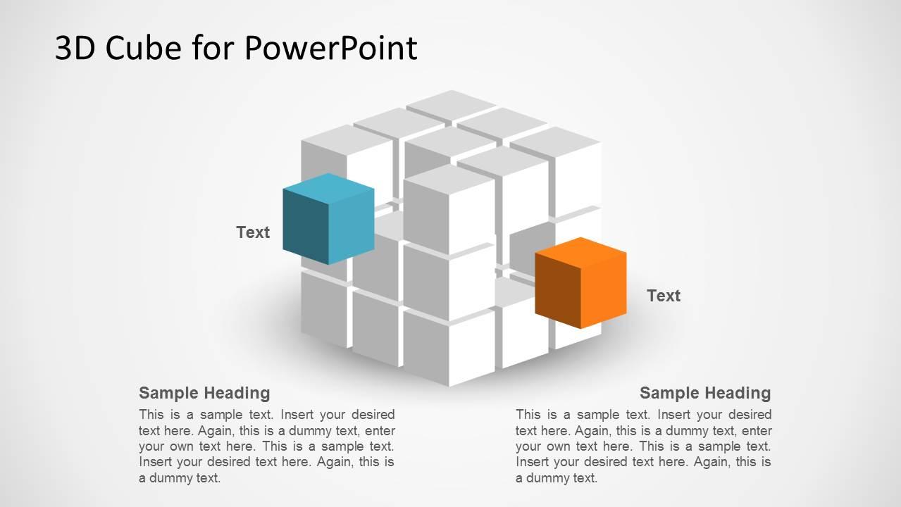 3d cube shape for powerpoint slidemodel