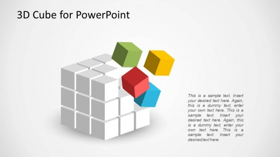 3D Cube PowerPoint Design with Colors