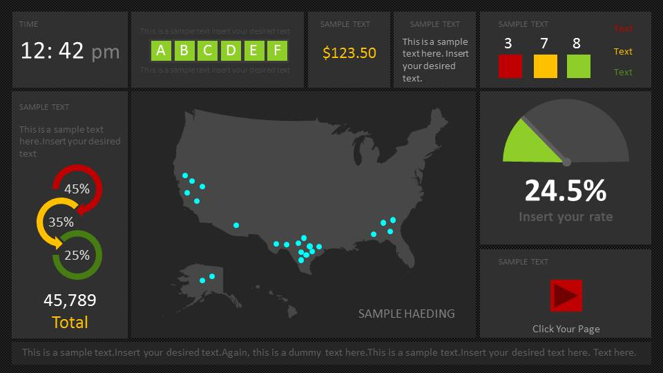 Dark Dashboard US Map for PowerPoint