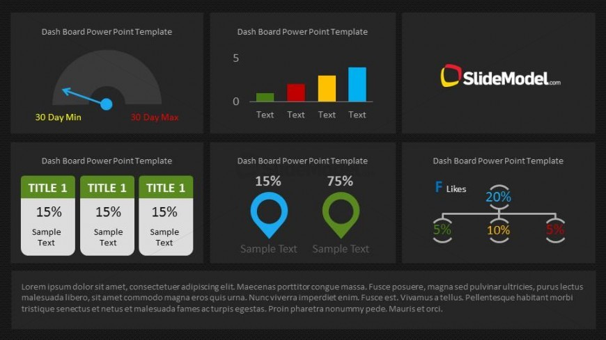 Dashboard Slide Design for PowerPoint with Dark Background