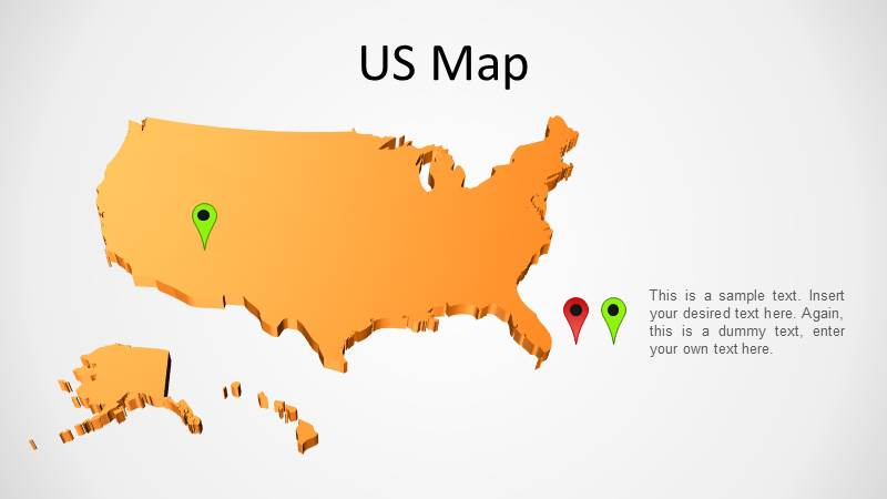 3D PowerPoint Map of US in orange background