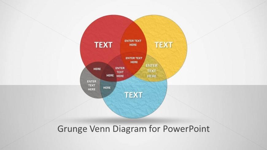 Creative Grunge Venn Diagram Design for PowerPoint