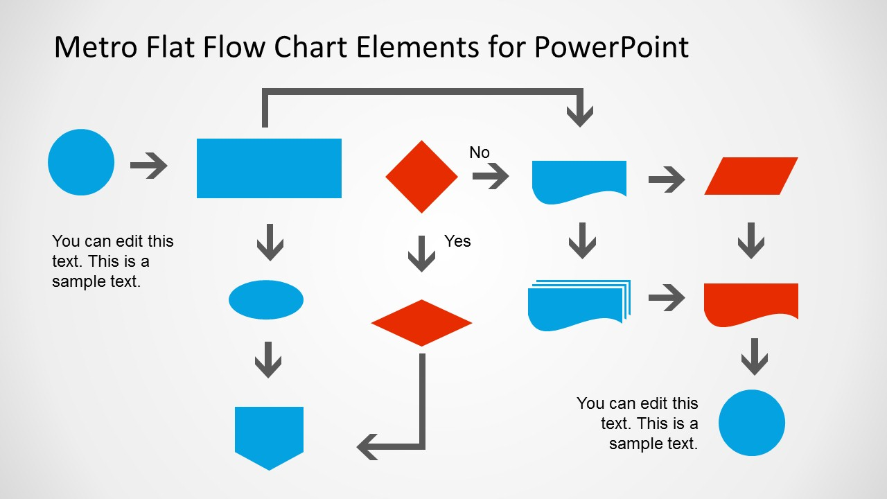 Metro Style Flow Chart Template For Powerpoint