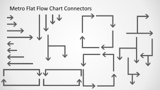 Flat Metro slide design with useful connectors and arrows for your presentations with flow chart diagrams