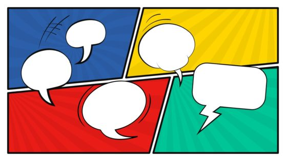 Speech Bubbles Slide Comic Style