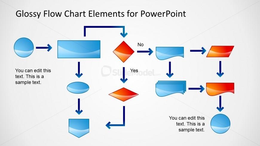 Flow Chart Powerpoint Slide Glossy Style Slidemodel