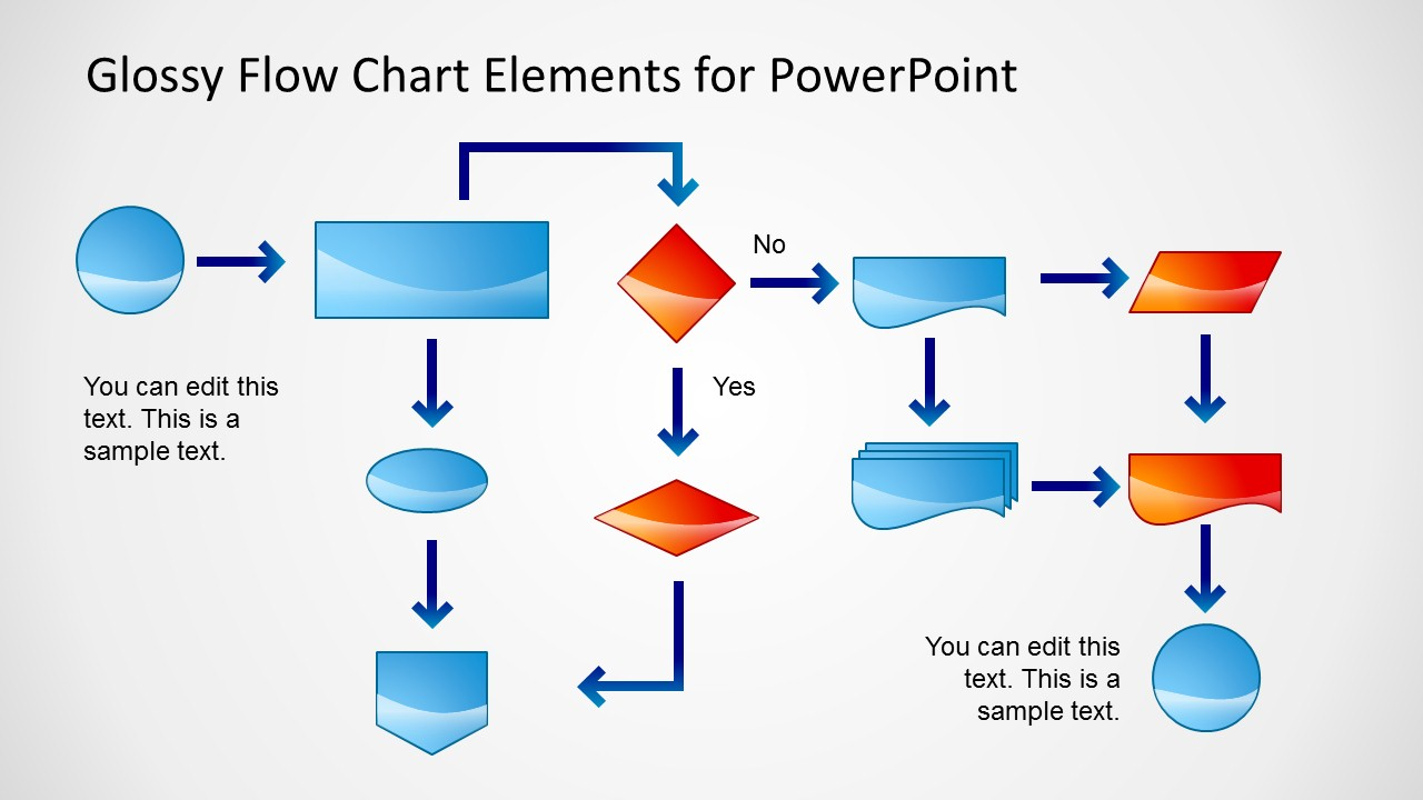 Diagram process flow diagram ppt template : Glossy Flow Chart Template for PowerPoint - SlideModel
