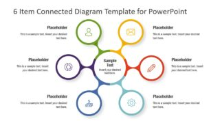 6 Item Connected Diagram Template for PowerPoint