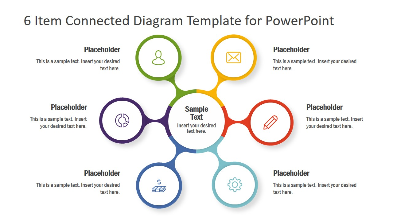 6 Items Powerpoint Spoke Diagram