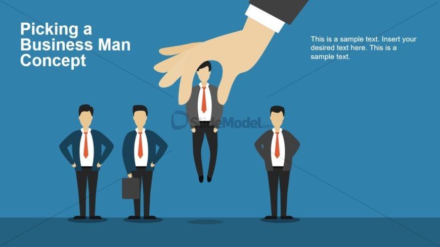 Cartoon Illustration of Picking Businessman