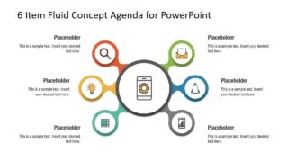 6 Item Fluid Concept Agenda Layout for PowerPoint