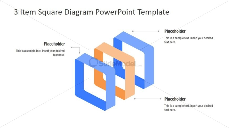 Square Blocks for 3 Item Diagram PPT