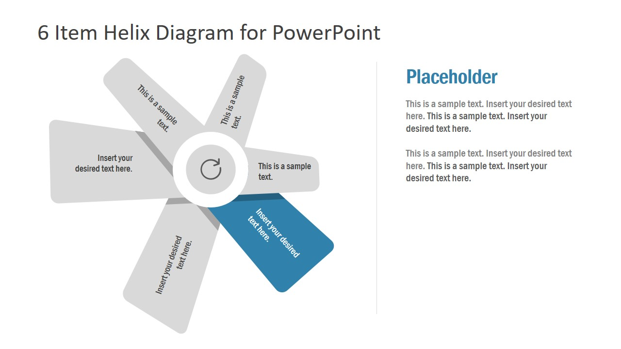 6 Items Helix Fan Shape PPT