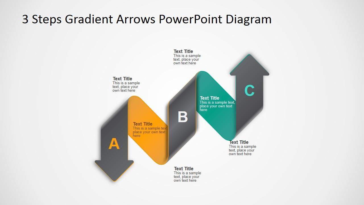 powerpoint diagram 3 level 3d arrows material design