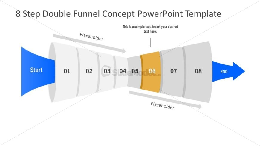 Funnel Diagram of 6 Step PPT