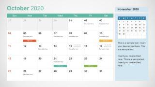 October Calendar PowerPoint Template for 2020