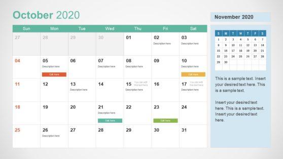 2020 Calendar PowerPoint October