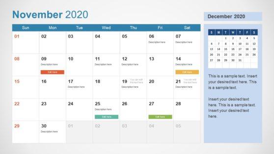 2020 Calendar PowerPoint November