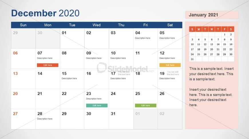 December Calendar PowerPoint Template for 2020
