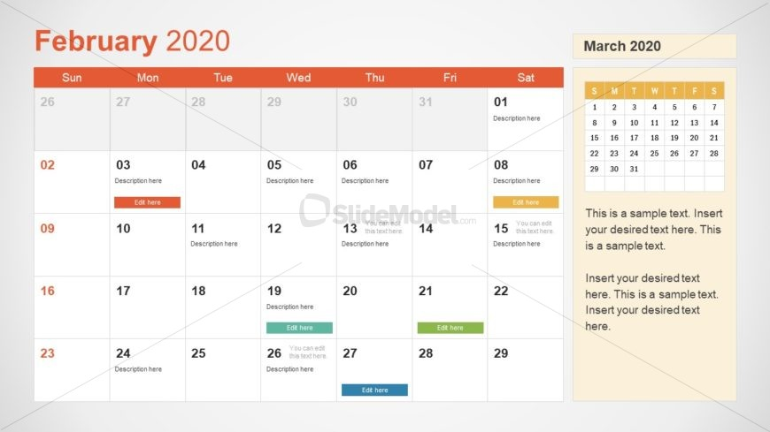 February Calendar PowerPoint Template for 2020