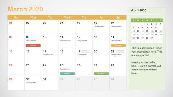 2020 Calendar PowerPoint March