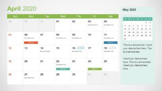 April Calendar PowerPoint Template for 2020