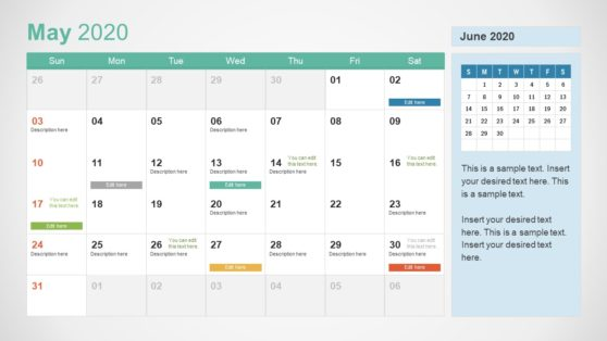 2020 Calendar PowerPoint May