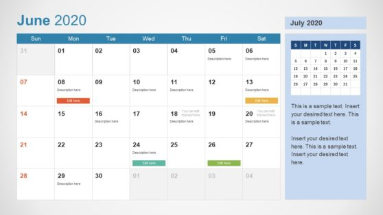 2020 Calendar PowerPoint June